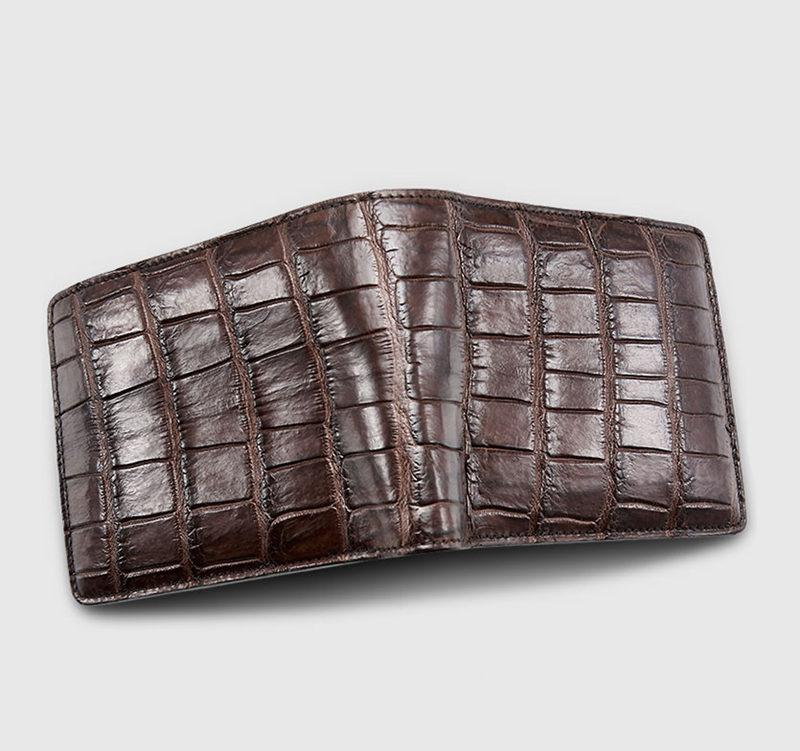 Classic Alligator Wallet, Genuine Alligator Skin Wallet for Men-Brown-1