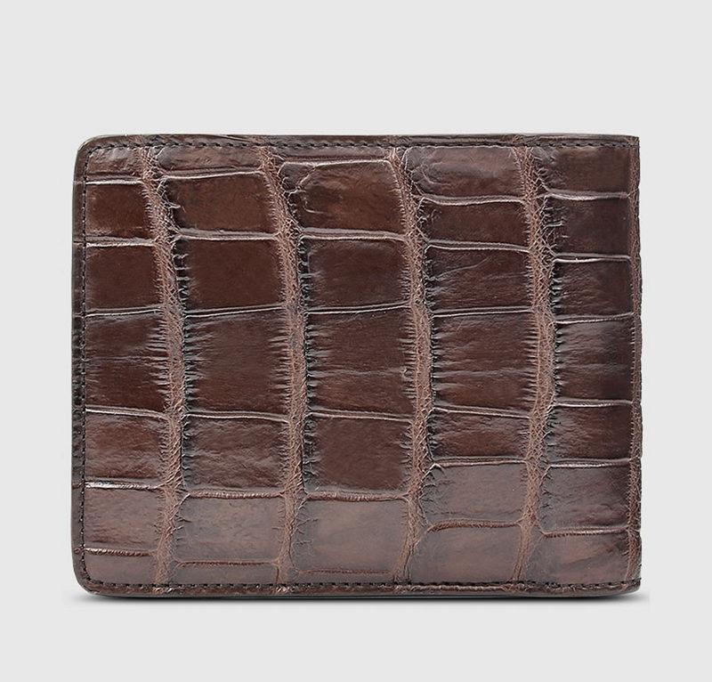 Classic Alligator Wallet, Genuine Alligator Skin Wallet for Men-Brown-Back