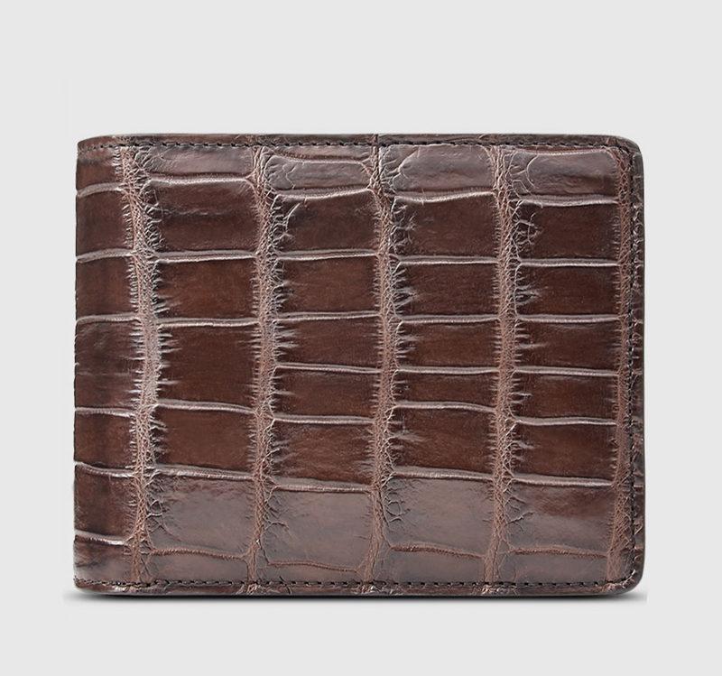 Classic Alligator Wallet, Genuine Alligator Skin Wallet for Men-Brown