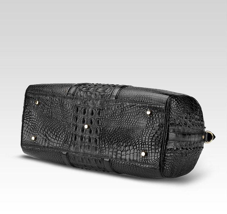 Crocodile Leather Travel Weekender Overnight Duffel Bag-Bottom