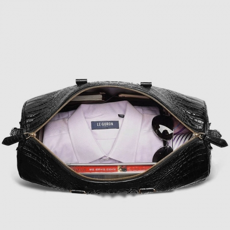 Crocodile Leather Travel Weekender Overnight Duffel Bag-Inside