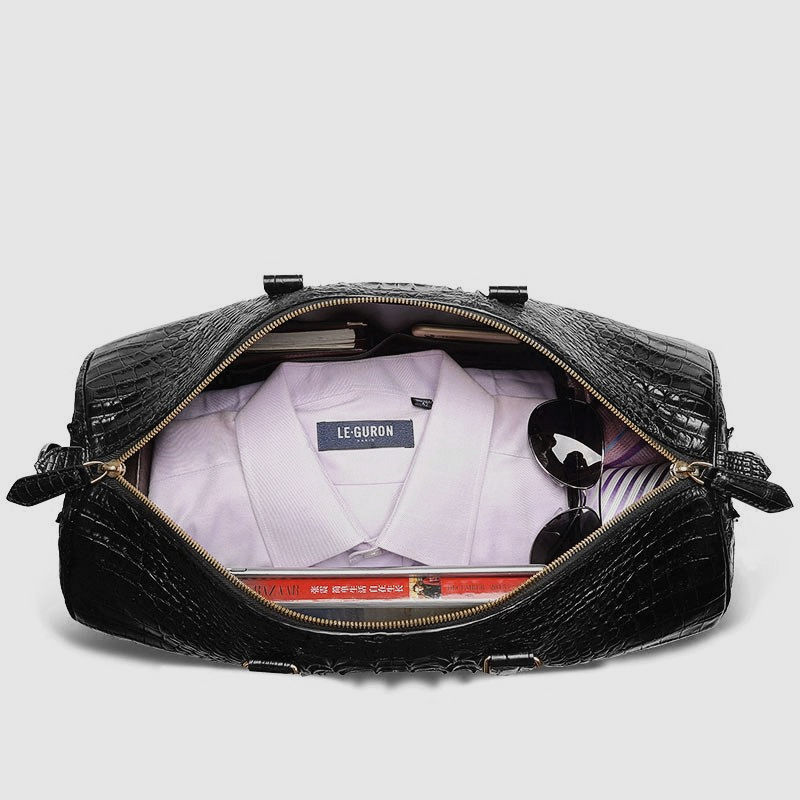 Crocodile Leather Travel Weekender Overnight Duffel Bag-Inside