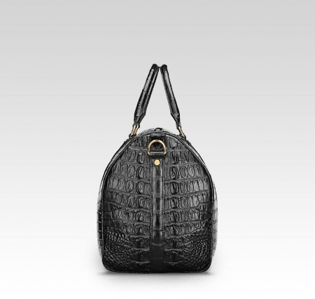 Crocodile Leather Travel Weekender Overnight Duffel Bag-Side