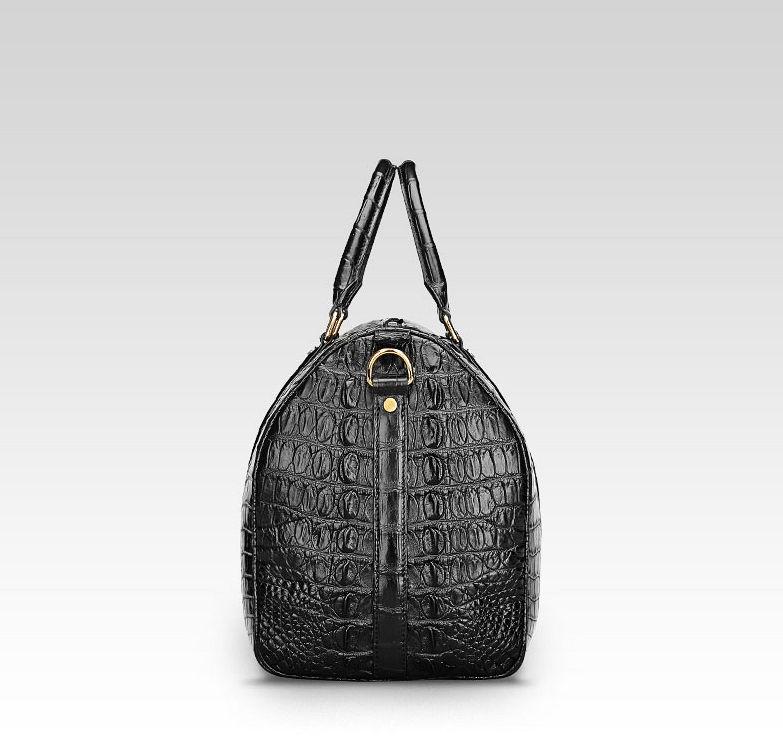 Crocodile Leather Travel Weekender Overnight Duffel Bag-Side