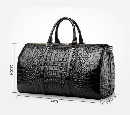 Crocodile Leather Travel Weekender Overnight Duffel Bag-Size