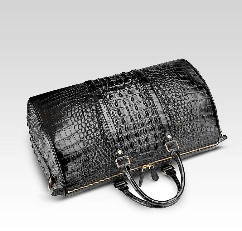 Crocodile Leather Travel Weekender Overnight Duffel Bag-Top