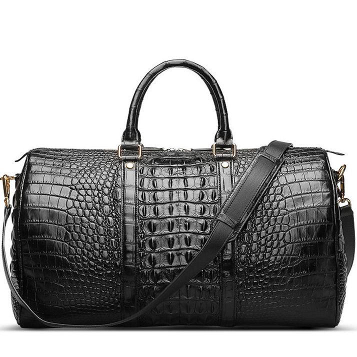 Crocodile Leather Travel Weekender Overnight Duffel Bag