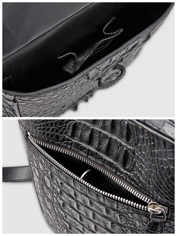 Crocodile Messenger Bag Crossbody Shoulder Bag-Details