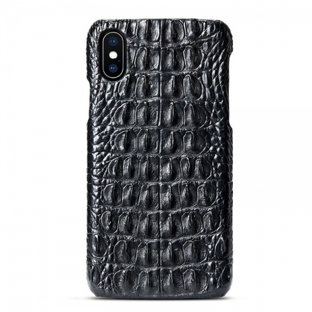 Black iPhone Xs Max, Xs, X Crocodile Back Skin Snap-on Case