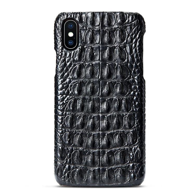 Black iPhone Xs Max, Xs, X Crocodile Back Skin Snap-on Case