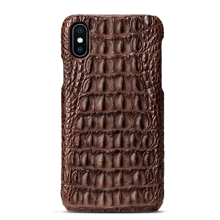 Brown iPhone Xs Max, Xs, X Crocodile Back Skin Snap-on Case