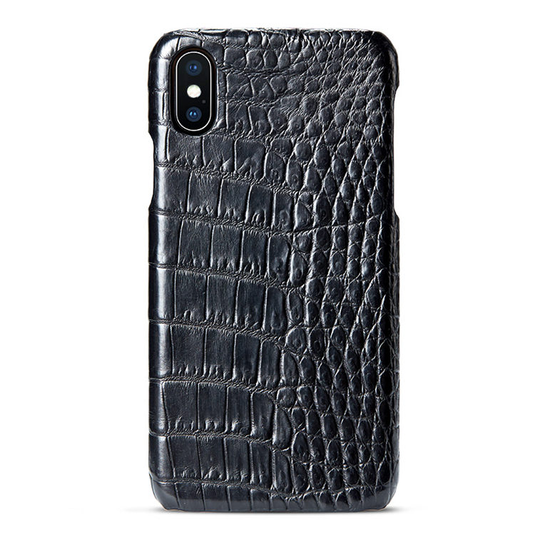 Black iPhone Xs Max, Xs, X Crocodile Belly Skin Snap-on Case