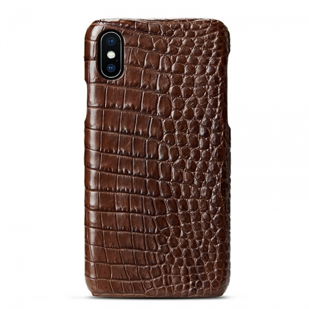 Brown iPhone Xs Max, Xs, X Crocodile Belly Skin Snap-on Case