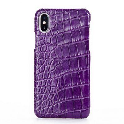 Crocodile iPhone X Case, Crocodile Snap-on Case for iPhone X-Belly Skin – Purple