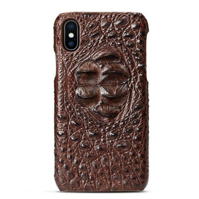 Crocodile iPhone XS Max / XS / X Case, Crocodile Snap-on Case for iPhone XS Max / XS / X - Head Skin - Brown