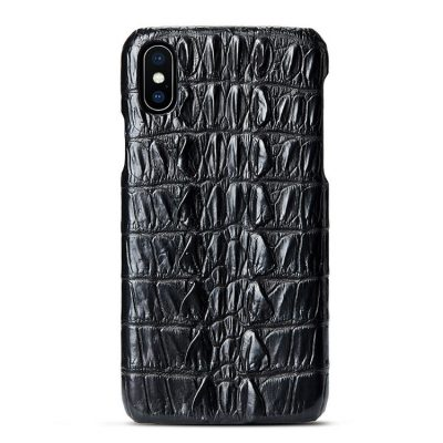 Crocodile iPhone XS Max, XS, X Case, Crocodile Snap-on Case for iPhone XS Max, XS, X-Tail Skin-Black