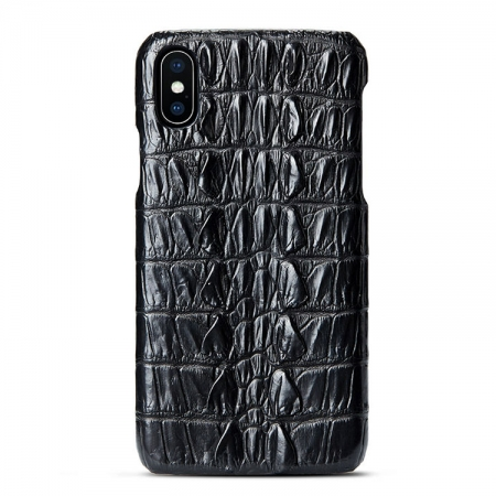 Black iPhone Xs Max, Xs, X Crocodile Tail Skin Snap-on Case
