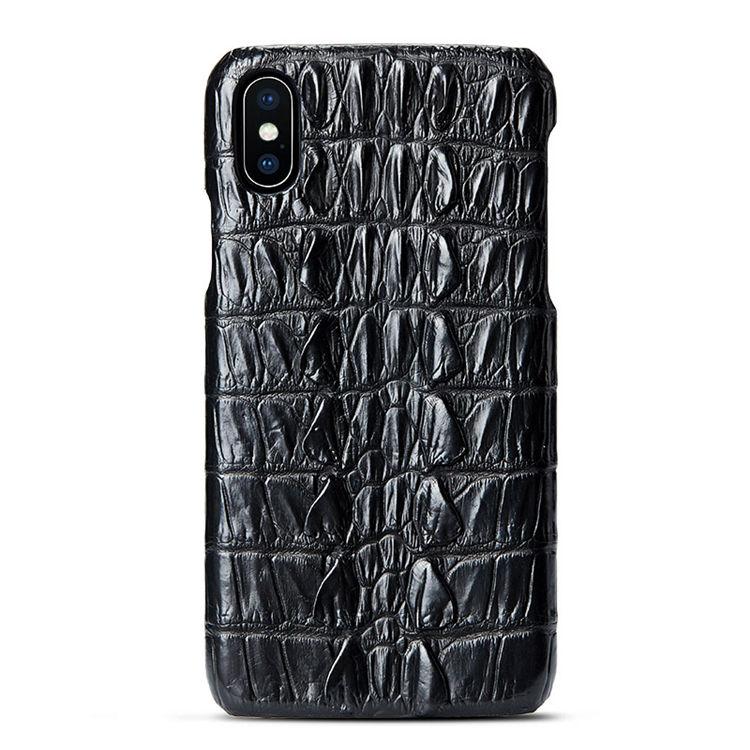Black iPhone Xs Max, Xs, X Crocodile Tail Skin Snap-on Case