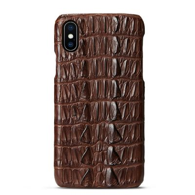 Crocodile iPhone XS Max, XS, X Case, Crocodile Snap-on Case for iPhone XS Max, XS, X-Tail Skin-Brown