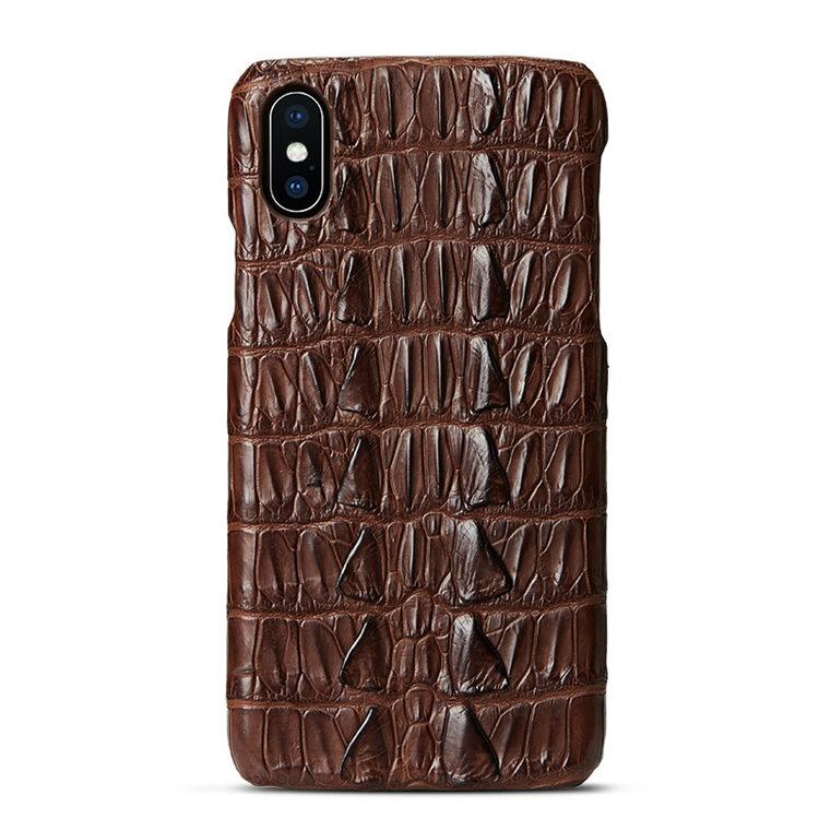 Brown iPhone Xs Max, Xs, X Crocodile Tail Skin Snap-on Case