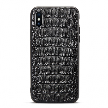 Brown iPhone Xs Max, Xs, X Crocodile Back Skin Full TPU Soft Edges Case