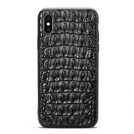 Crocodile iPhone X Case with Full TPU Soft Edges-Back Skin-Black