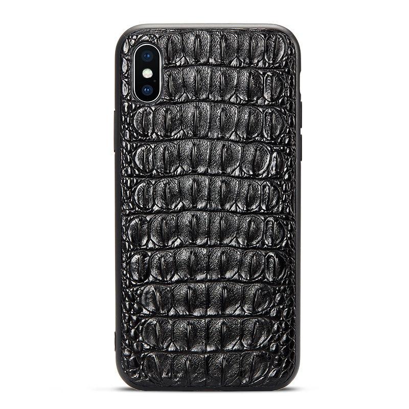 Brown iPhone Xs Max, Xs, X Crocodile Back Skin Full TPU Soft Edges Case