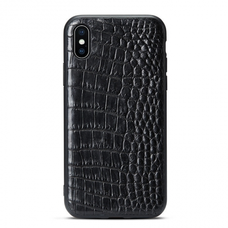 Crocodile iPhone X Case with Full TPU Soft Edges-Belly Skin-Black
