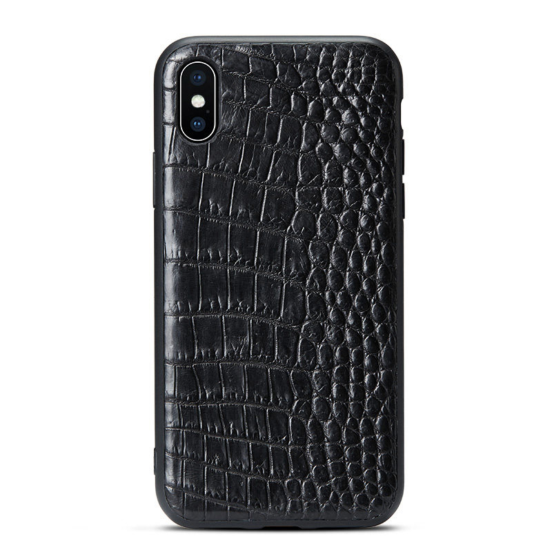 Black iPhone Xs Max, Xs, X Crocodile Belly Skin Full TPU Soft Edges Case