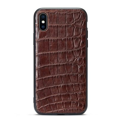 Crocodile iPhone XS Max, XS, X Case with Full Soft TPU Edges-Belly Skin-Brown