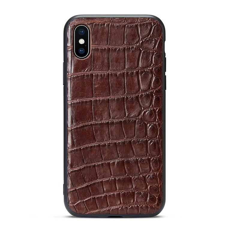 Brown iPhone Xs Max, Xs, X Crocodile Belly Skin Full TPU Soft Edges Case