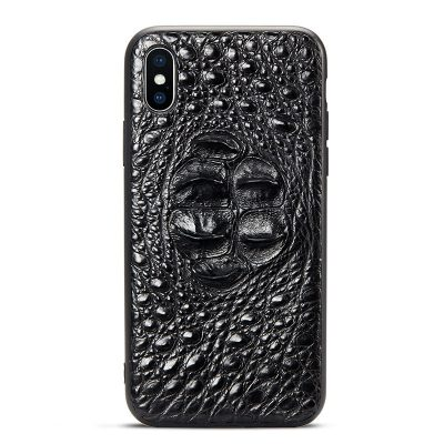 Crocodile iPhone XS Max, XS, X Case with Full Soft TPU Edges - Head Skin - Black