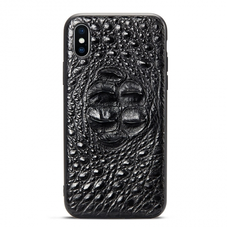 Crocodile iPhone X Case with Full TPU Soft Edges-Head Skin-Black