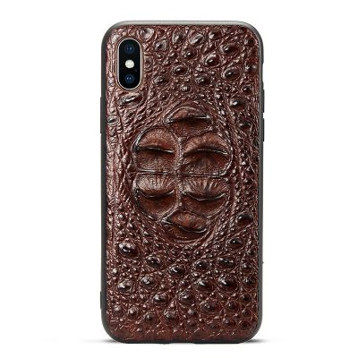 Crocodile iPhone XS Max, XS, X Case with Full Soft TPU Edges - Head Skin - Brown