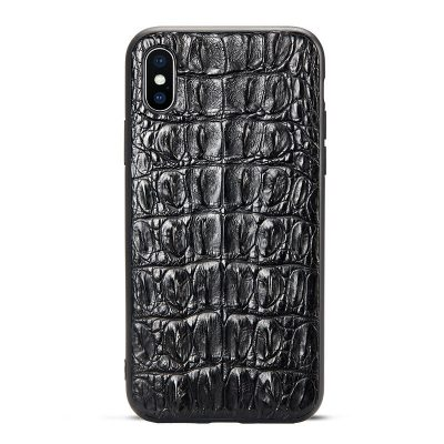 Crocodile iPhone XS Max, XS, X Case with Full Soft TPU Edges-Tail Skin-Black