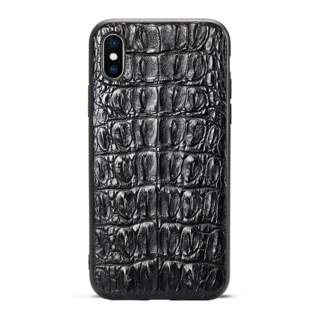 Black iPhone Xs Max, Xs, X Crocodile Tail Skin Full TPU Soft Edges Case