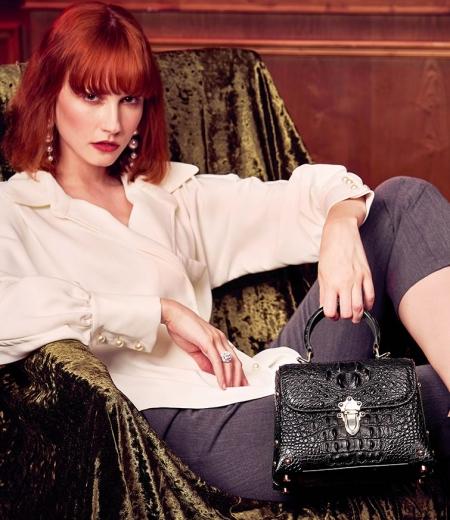 Designer Crocodile Handbag, Crocodile Crossbody Bag-Black-Display