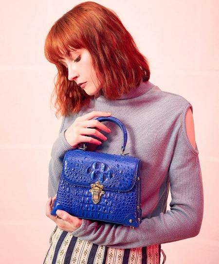 Designer Crocodile Handbag, Crocodile Crossbody Bag-Blue-Display