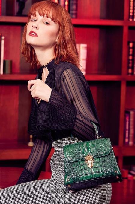 Designer Crocodile Handbag, Crocodile Crossbody Bag-Green-Display