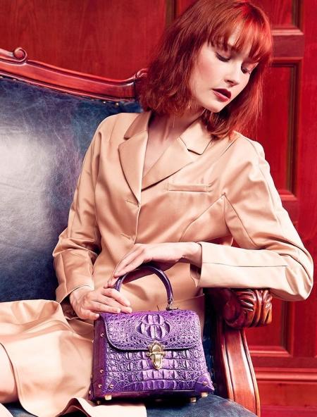 Designer Crocodile Handbag, Crocodile Crossbody Bag-Purple-Display