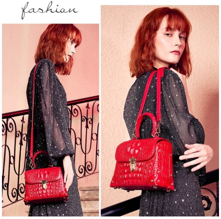 Designer Crocodile Handbag, Crocodile Crossbody Bag-Red-Display