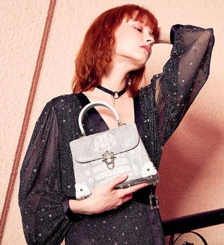 Designer Crocodile Handbag, Crocodile Crossbody Bag-White-Display