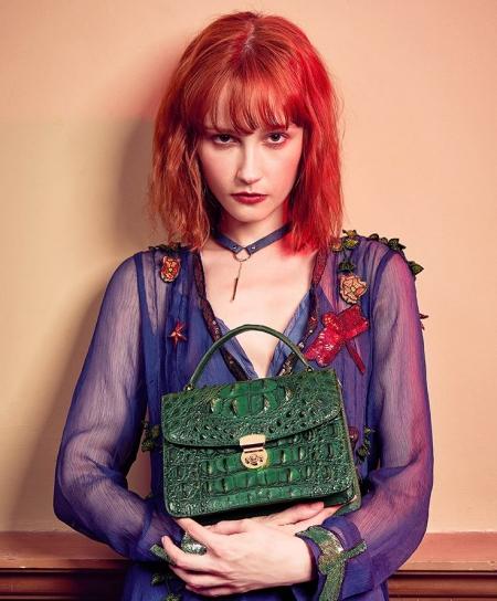 Designer Crocodile Purses Cross Body Handbags-Green-Display