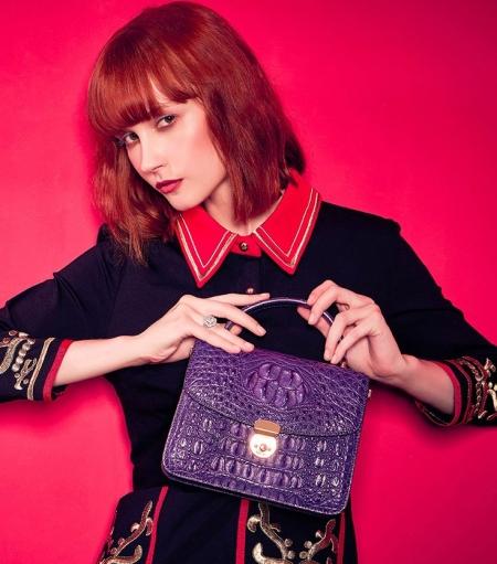 Designer Crocodile Purses Cross Body Handbags-Purple-Display