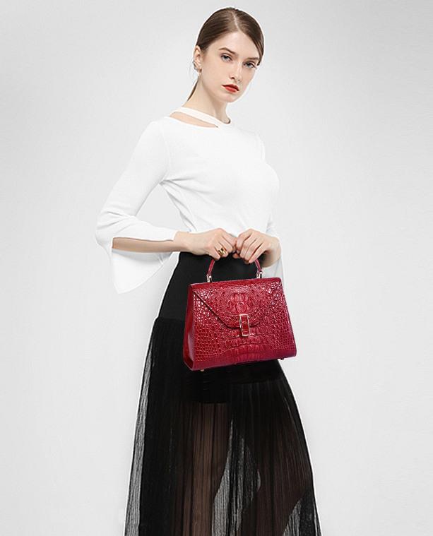 Designer Top Handle Crocodile Handbag Bag Crocodile Purse