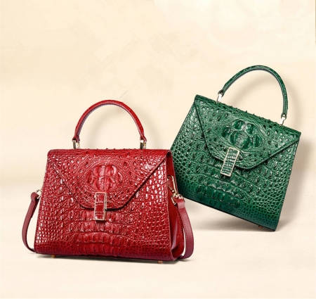 Designer Top Handle Crocodile Handbag Crossbody Bag Crocodile Purse-1