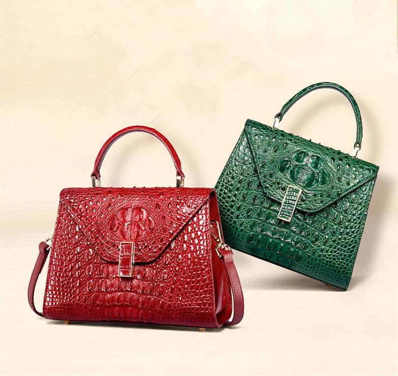 Designer Top Handle Crocodile Handbag Crossbody Bag Crocodile Purse-1