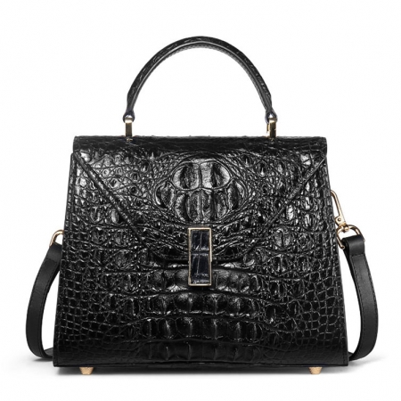 Designer Top Handle Crocodile Handbag Crossbody Bag Crocodile Purse-Black