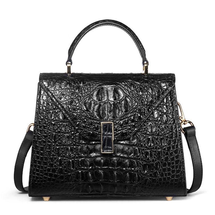 Designer Top Handle Crocodile Handbag Crossbody Bag Crocodile Purse-Black