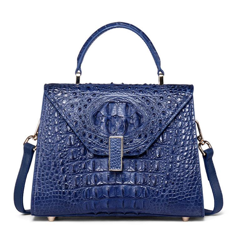 Designer Top Handle Crocodile Handbag Crossbody Bag Crocodile Purse-Blue